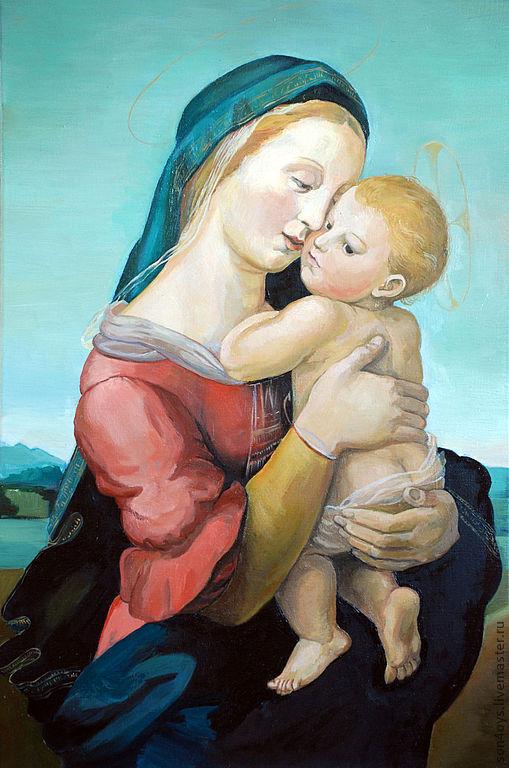"""Люди, ручной работы. Ярмарка Мастеров - ручная работа. Купить Рафаэль """"Мадонна Темпи"""". Handmade. Бирюзовый, картина, живопись маслом"""
