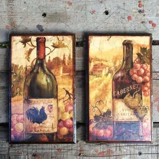 """Натюрморт ручной работы. Ярмарка Мастеров - ручная работа. Купить Панно """"Бутылки с вином"""". Handmade. Италия, декор стен"""