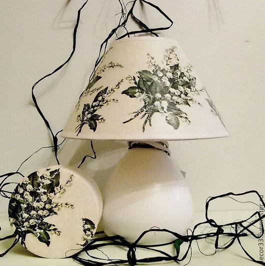 Освещение ручной работы. Ярмарка Мастеров - ручная работа. Купить Лампа настольная Ландыши. Handmade. Белый, предмет интерьера, рафия