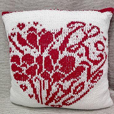 Для дома и интерьера handmade. Livemaster - original item White sofa cushion with Heart pattern. Handmade.
