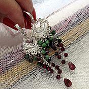 Украшения handmade. Livemaster - original item Silver earrings with garnet and zoisite.. Handmade.