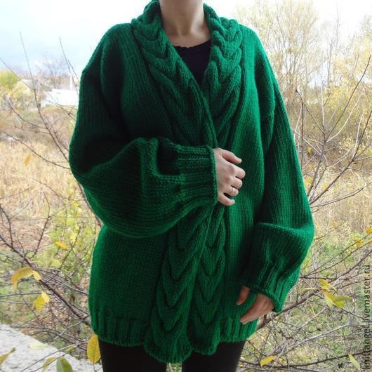 Кофты и свитера ручной работы. Ярмарка Мастеров - ручная работа. Купить Кардиган с косами. Handmade. Зеленый, модный кардиган