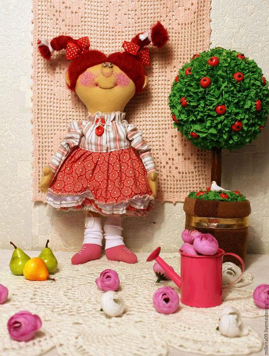 Коллекционные куклы ручной работы. Ярмарка Мастеров - ручная работа. Купить Текстильная кукла Ириска. Handmade. Ярко-красный