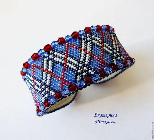 """Браслеты ручной работы. Ярмарка Мастеров - ручная работа. Купить Браслет """"Шотландтка"""". Handmade. Синий, шотландская клетка, бисер японский"""