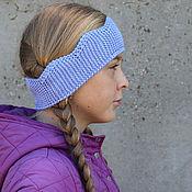 Аксессуары handmade. Livemaster - original item Knitted headband of Goluboj Crown for girls on autumn and spring. Handmade.