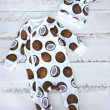 """Товары для малышей ручной работы. Ярмарка Мастеров - ручная работа Комплект для новорождённого """"Кокосы"""" 56-62р.. Handmade."""