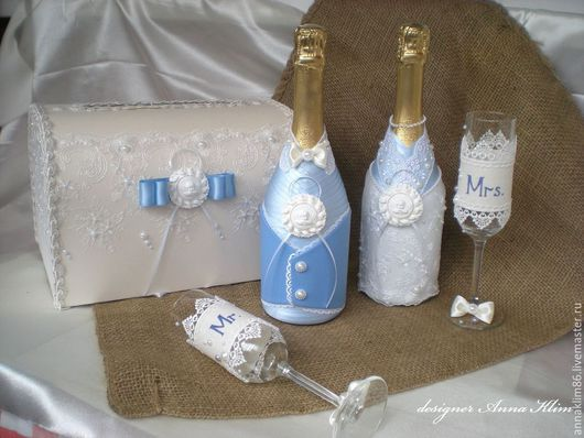 Свадебные аксессуары ручной работы. Ярмарка Мастеров - ручная работа. Купить Костюмы на бутылки в голубом. Handmade. Голубой, свадебные аксессуары