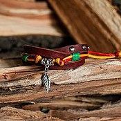 Украшения ручной работы. Ярмарка Мастеров - ручная работа Кожаный браслет с подвеской для девушки. Handmade.