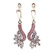 Украшения handmade. Livemaster - original item Silver earrings with tanzanite, rubies and Zirconia -