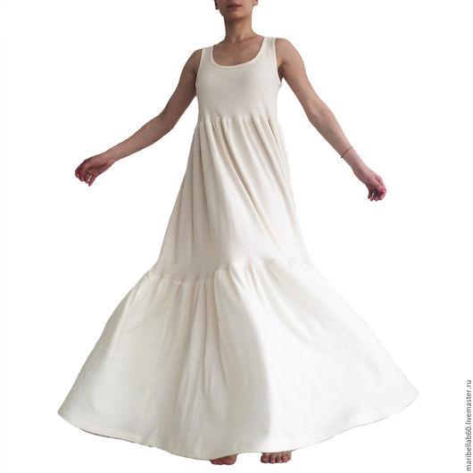 Платья ручной работы. Ярмарка Мастеров - ручная работа. Купить GREENECA длинное платье из органического хлопка. Handmade. Белый