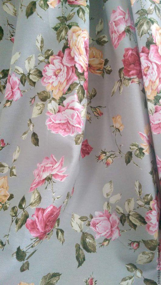 Текстиль, ковры ручной работы. Ярмарка Мастеров - ручная работа. Купить Ткань интерьерная Дольче Вита. Handmade. Голубой, розы