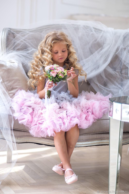 Одежда для девочек, ручной работы. Ярмарка Мастеров - ручная работа. Купить Платье нарядное для девочки из фатина Pink grey. Handmade.