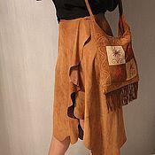 Одежда handmade. Livemaster - original item Suedette skirt in natural color. Handmade.