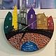 """Часы для дома ручной работы. Ярмарка Мастеров - ручная работа. Купить Часы """"Город"""". Handmade. Разноцветный, часы в подарок, город"""