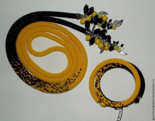 Комплекты украшений ручной работы. Ярмарка Мастеров - ручная работа. Купить Желто-черный  комплект-лариат+браслет. Handmade. Вязанный жгут