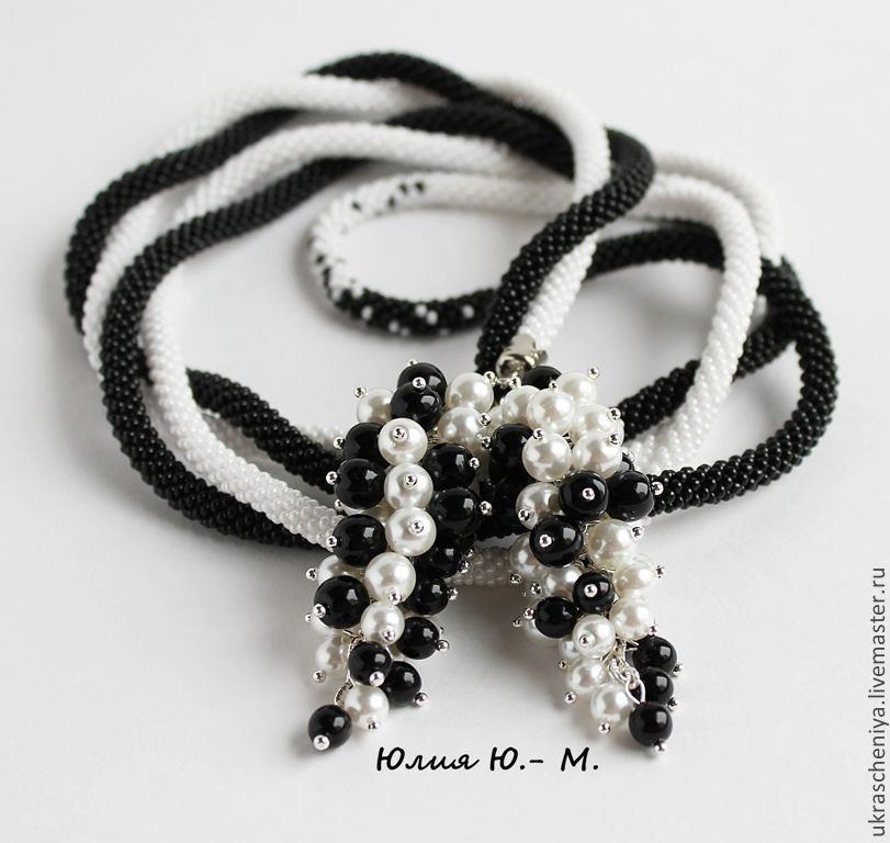 lariat 'day and night', burning bead, black and white decoration, Lariats, Ryazan,  Фото №1