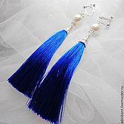 Украшения handmade. Livemaster - original item Clips Blue Tassels with Swarovski. Handmade.