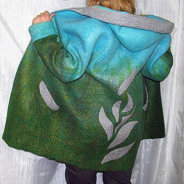 Одежда ручной работы. Ярмарка Мастеров - ручная работа Тёплая валяная куртка зелёно-голубая. Handmade.