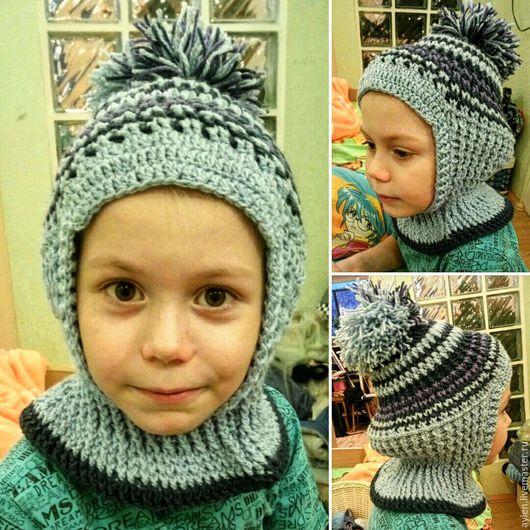Шапки и шарфы ручной работы. Ярмарка Мастеров - ручная работа. Купить Шапка-шлем. Handmade. Комбинированный, в полоску