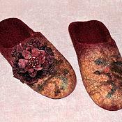 """Обувь ручной работы. Ярмарка Мастеров - ручная работа Валяные женские тапочки """"Бордовая магия"""". Handmade."""