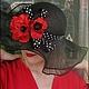 Шляпы ручной работы. Ярмарка Мастеров - ручная работа. Купить Соломенная шляпа с маками. Handmade. Черный, летняя шляпа