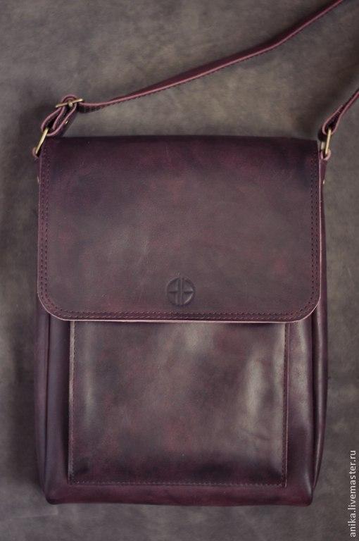 """Мужские сумки ручной работы. Ярмарка Мастеров - ручная работа. Купить Сумка мужская """"Alex"""". Handmade. Тёмно-фиолетовый, эксклюзив"""
