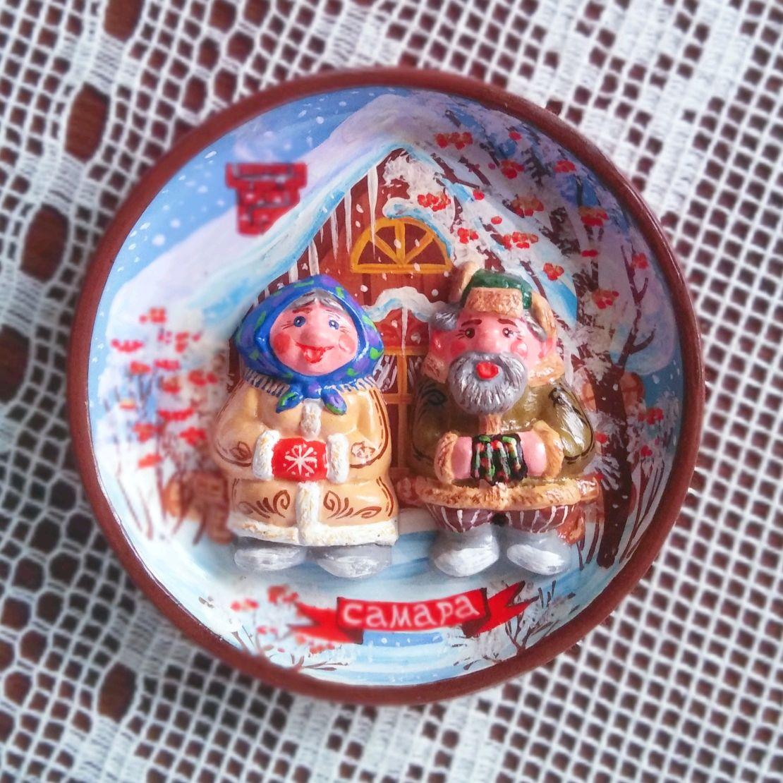 """Керамическая тарелка """"Зимние посиделки"""", Народные сувениры, Самара,  Фото №1"""