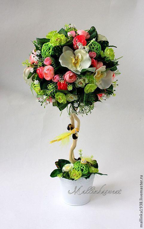 """Топиарии ручной работы. Ярмарка Мастеров - ручная работа. Купить Топиарий, дерево счастья """"Весеннее настроение"""". Handmade. Зеленый, топиарий"""