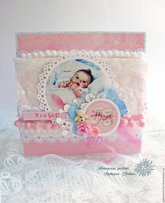 Детские открытки ручной работы. Ярмарка Мастеров - ручная работа. Купить Нежнейшая открытка на рождение девочки. Handmade. Розовый