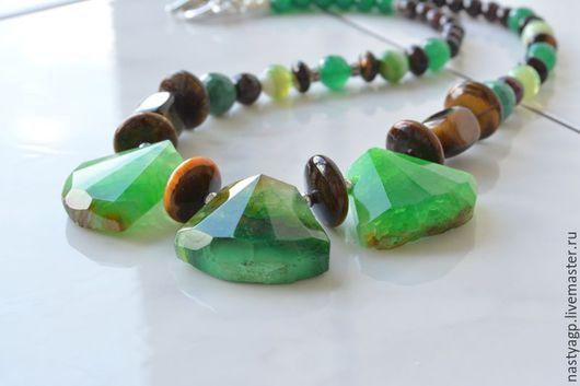 Магазин украшений , украшения из натуральных камней ,зеленое колье , колье из агата ,крупное украшение , зеленые бусы , украшение , бижутерия из камней ,модное украшение