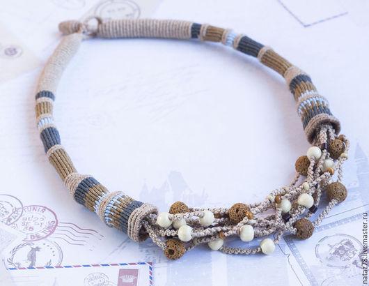 """Колье, бусы ручной работы. Ярмарка Мастеров - ручная работа. Купить Ожерелье  """"Шоколад с черникой"""" макраме. Handmade. ожерелье"""