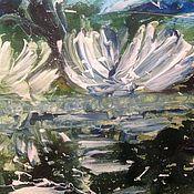 Картины ручной работы. Ярмарка Мастеров - ручная работа Лебеди на воде. Handmade.