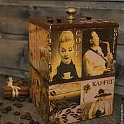 Для дома и интерьера ручной работы. Ярмарка Мастеров - ручная работа Короб для хранения кофейных зёрен Coffe. Handmade.