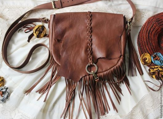Женские сумки ручной работы. Ярмарка Мастеров - ручная работа. Купить Женская сумка с бахромой, стиль этно - бохо. Handmade.
