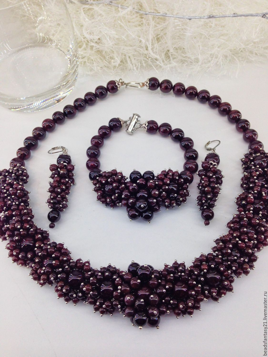 Set jewelry made from natural dark red Garnet stone.hedgehogs, Jewelry Sets, Riga,  Фото №1