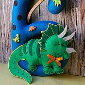 Для дома и интерьера ручной работы. Ярмарка Мастеров - ручная работа Цифра с Динозавриком. Handmade.
