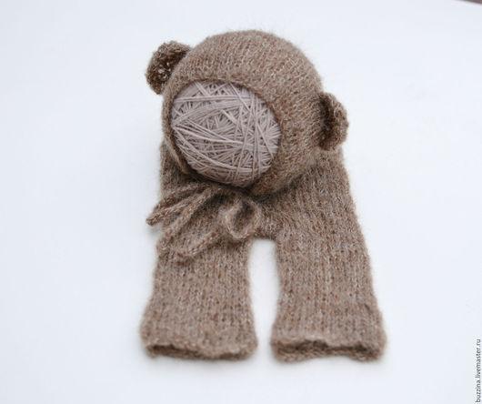 Для новорожденных, ручной работы. Ярмарка Мастеров - ручная работа. Купить Костюм обезьянки для фотосессии новорожденных шапочка+штанишки. Handmade. Коричневый