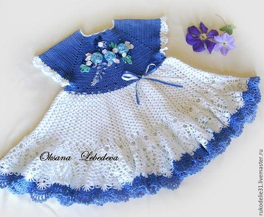 платье для детского праздника, ажурное платье девочки, ажурное платье крючком, гжель детское платье, белый синий голубой, платье на детский праздник утренник, красивое нарядное детское платье фото