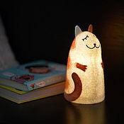 Для дома и интерьера ручной работы. Ярмарка Мастеров - ручная работа Светильник войлочный  Рыжий кот. Handmade.