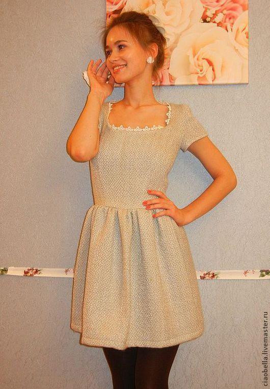 """Платья ручной работы. Ярмарка Мастеров - ручная работа. Купить Платье с вырезом """"Sharlotta"""". Handmade. Голубой, платье с коротким рукавом"""