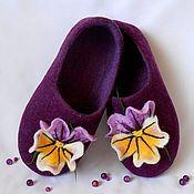 """Обувь ручной работы. Ярмарка Мастеров - ручная работа Валяные тапочки """"Любимые фиалки"""". Handmade."""