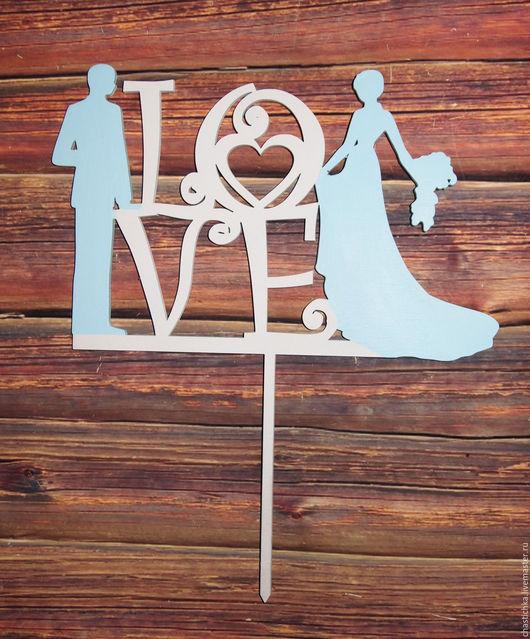 """Свадебные аксессуары ручной работы. Ярмарка Мастеров - ручная работа. Купить Топпер для свадебного торта """"love"""". Handmade. Топпер для торта"""