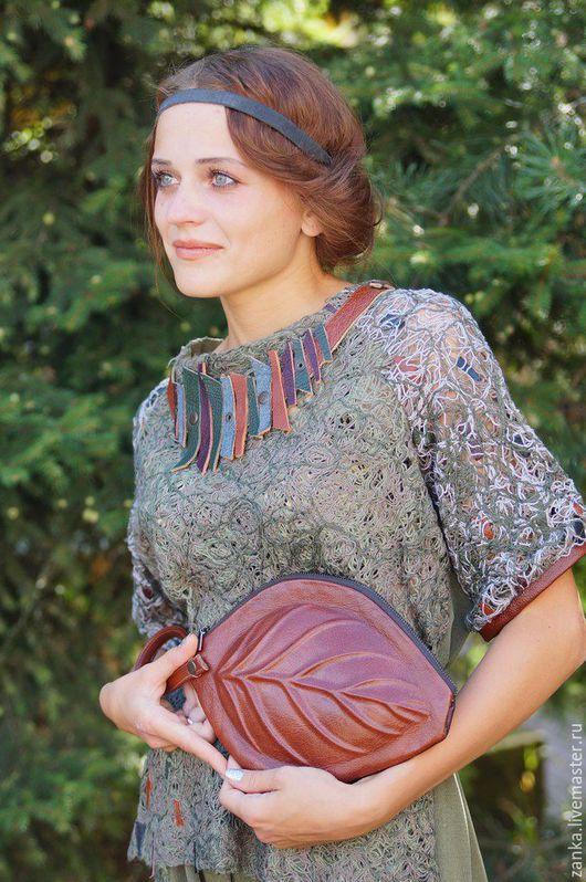 """Блузки ручной работы. Ярмарка Мастеров - ручная работа. Купить Блуза из коллекции """"Эхо"""". Handmade. Разноцветный, блузка с кожей"""