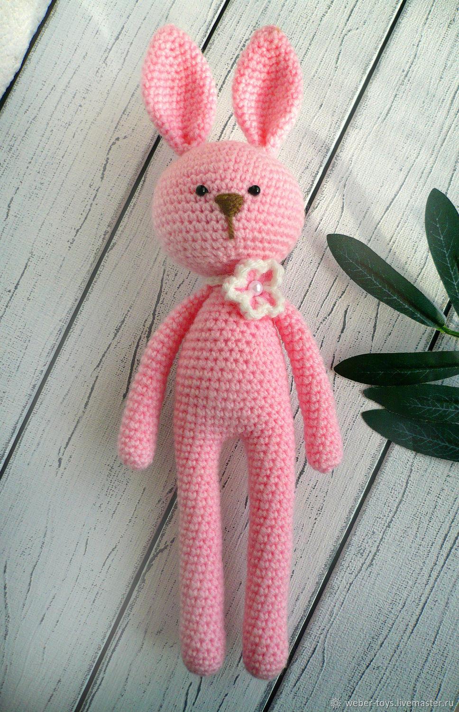 Заяц вязаный крючком розовый, Мягкие игрушки, Нижний Тагил,  Фото №1