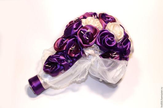 """Свадебные цветы ручной работы. Ярмарка Мастеров - ручная работа. Купить Букет невесты """"Фиолетовый каскад"""". Handmade. Тёмно-фиолетовый"""