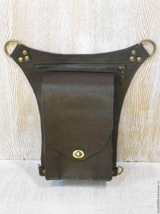 Сумка кожаная для документов Кобура коричневая сумка на бедро,сумка ручной работы,сумка для офиса, сумка из кожи, унисекс, женская сумка на бедро,мужская сумка на бедро, авторская сумка, сумка из кожи