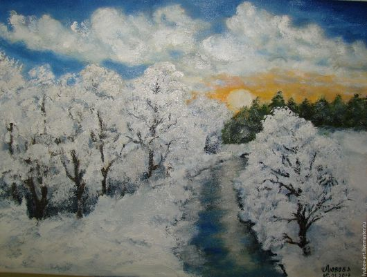 Пейзаж ручной работы. Ярмарка Мастеров - ручная работа. Купить Закружилась зима в снежном вальсе.. Handmade. Картина для интерьера