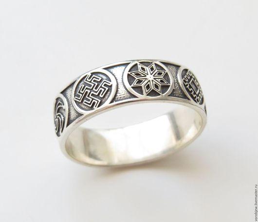 Кольца ручной работы. Ярмарка Мастеров - ручная работа. Купить Славянское кольцо, серебро 925, мощный оберег, чернение. Handmade.