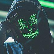 Головные уборы ручной работы. Ярмарка Мастеров - ручная работа Маска с неоновой лентой Американский Шпион Доллар светящаяся. Handmade.