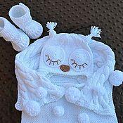 Работы для детей, handmade. Livemaster - original item To extract a set for boy cotton sleeve+hat+booties. Handmade.